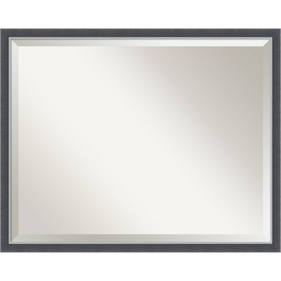 "30""x 24"" Eva Thin Framed Bathroom Vanity Wall Mirror Black/Silver - Amanti Art"