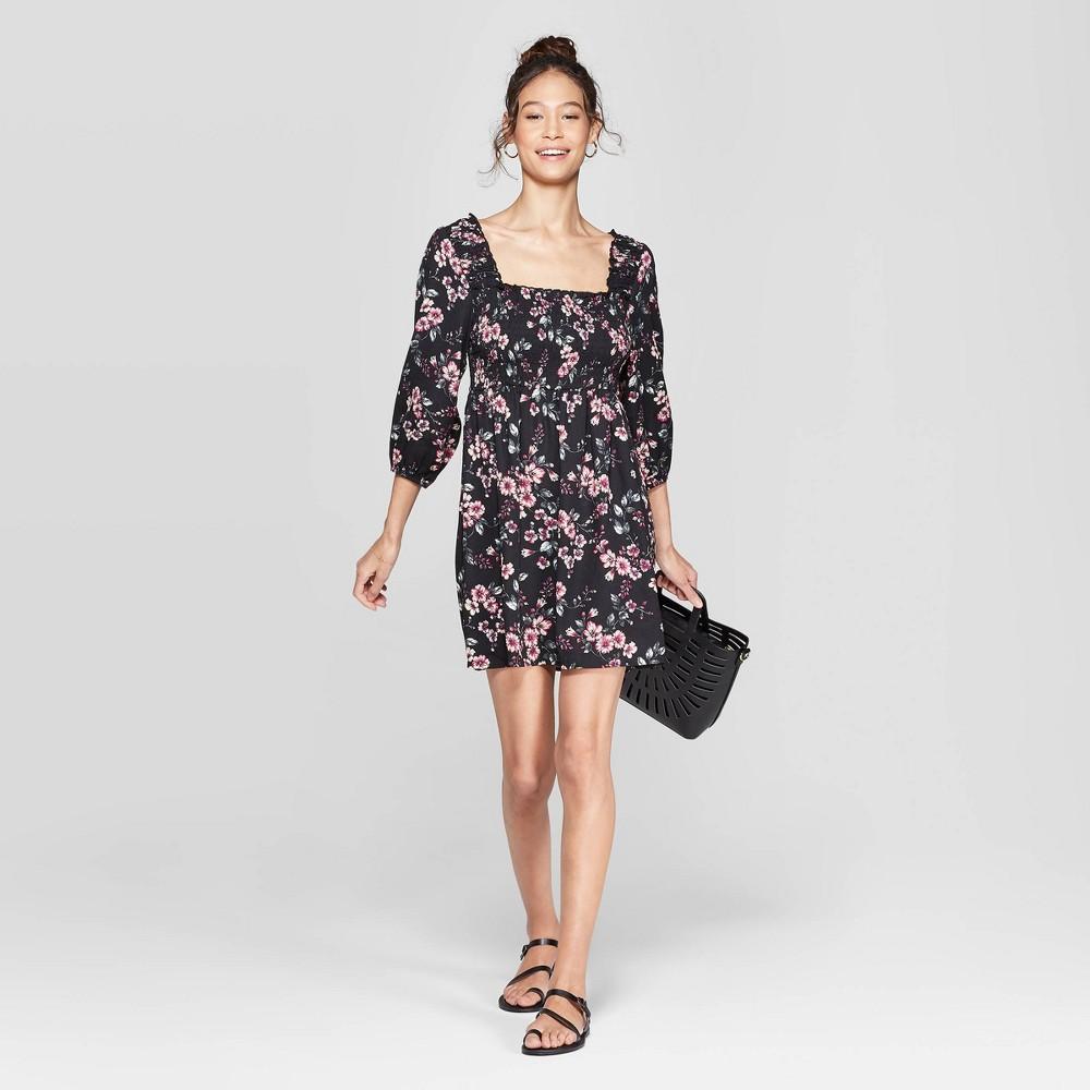 Women's Floral Print 3/4 Sleeve Square Neck Smocked Top Dress - Xhilaration Black L