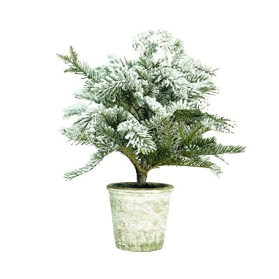 """Northlight 20"""" Unlit Artificial Flocked Pine Tree in Faux Paper Pot"""