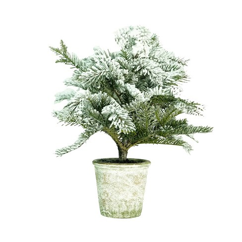 """Northlight 20"""" Unlit Artificial Flocked Pine Tree in Faux Paper Pot - image 1 of 3"""