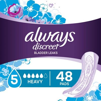 Always Discreet Incontinence and Postpartum Incontinence Pads - Heavy Absorbency - Regular Length - 48ct