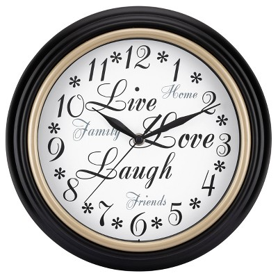 """12"""" Insperational Live, Love, Laough Wall Clock Black Frame and White Dial- Westclox"""