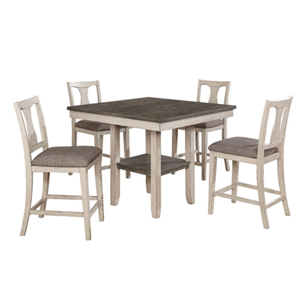 5pk Terry Wood Dining Table Set Antique White/Gray - Sun & Pine