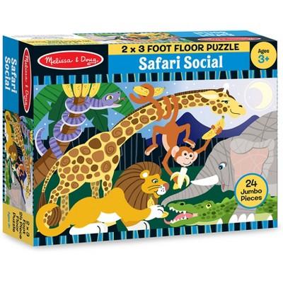 Melissa And Doug Safari Social Jumbo Floor Puzzle 24pc