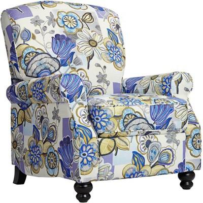 Elm Lane Ethel Indigo Floral Push Back Recliner Chair