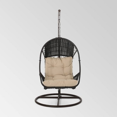 Malia Outdoor Wicker Hanging Chair with Stand Brown/Tan - Christopher Knight Home