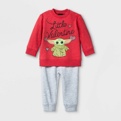 Baby Boys' 2pk Star Wars Baby Yoda 'Little Valentine' Fleece Long Sleeve Top and Bottom Set - Red 0-3M