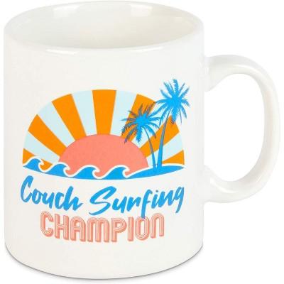 Okuna Outpost White Ceramic Coffee Mug Tea Cup 15 Oz, Couch Surfing Champion