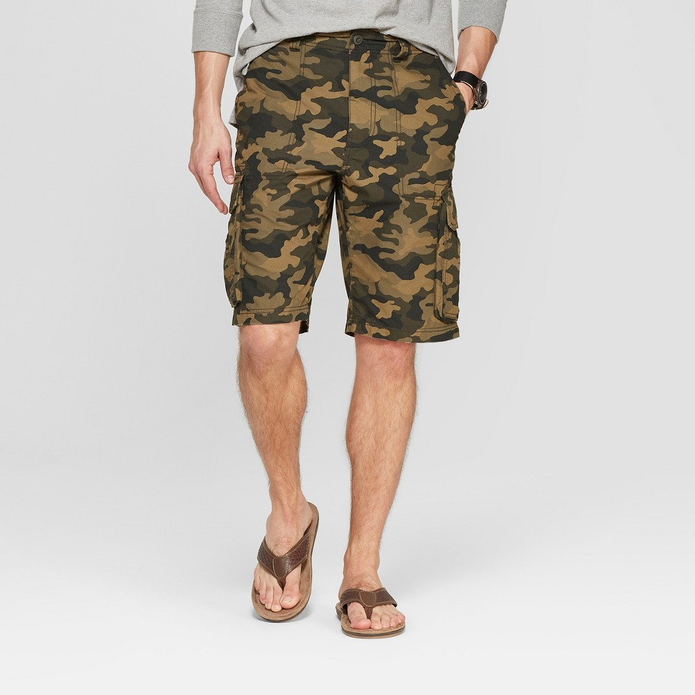 Men's 11 Camo Print Cargo Shorts - Goodfellow & Co Olive 32, Green