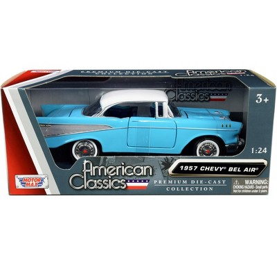"""1957 Chevrolet Bel Air Light Blue with White Top """"American Classics"""" 1/24 Diecast Model Car by Motormax"""