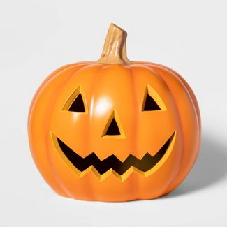 "18"" Lit Triangle Eye Pumpkin Decorative Halloween Prop Orange - Hyde & EEK! Boutique™"