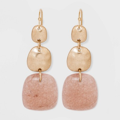 Semi-Precious Worn Gold Drop Earrings - Universal Thread™