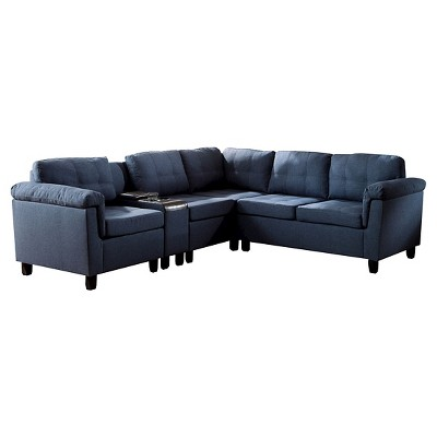 Cleavon Reversible Sectional Sofa Blue Linen and Espresso Faux Leather - Acme