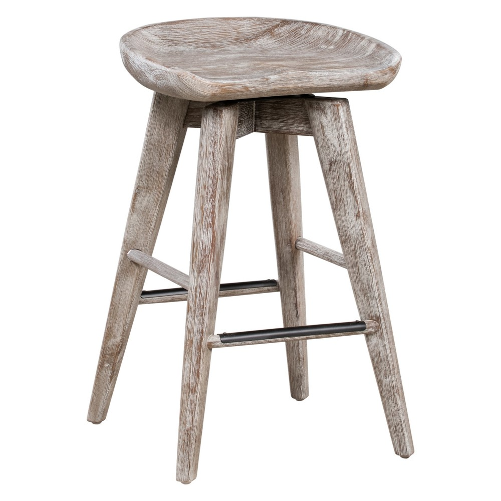 "Image of ""24"""" Bali Swivel Counter Stool Gray - Boraam"""