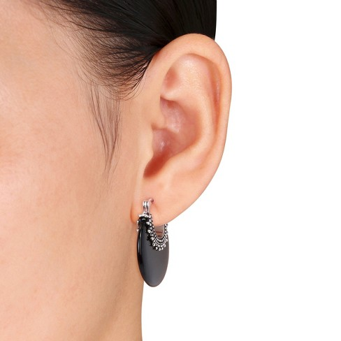 Onyx Hoop Earrings With Sterling Silver Accents In Black Target