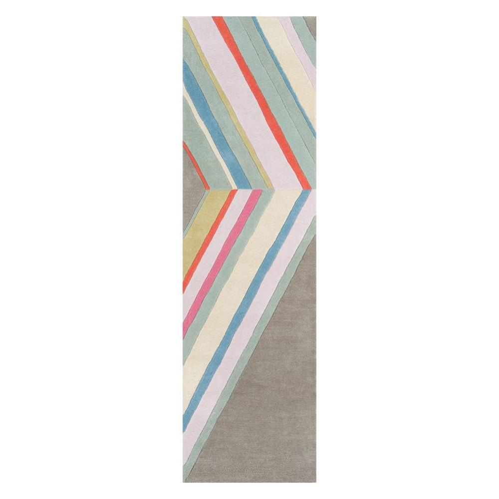 Image of 2'3X8' Stripe Tufted Runner Gray - Novogratz By Momeni