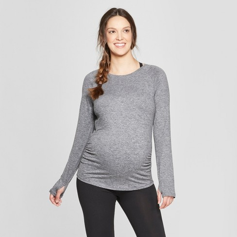16ef01d97978 Maternity Long Sleeve Soft T-Shirt - C9 Champion® Black Heather S ...
