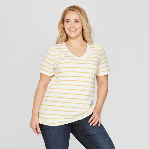 d891564a3b1 Women s Plus Size Striped Short Sleeve V-Neck Essential T-Shirt - Ava    Viv™ White Yellow 2X