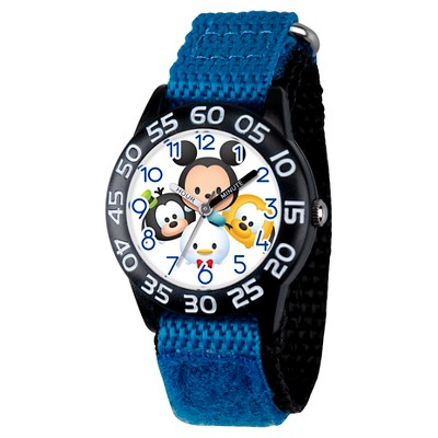 Boys' Disney Mickey Mouse-Goofy-Pluto and Donald Black Plastic Time Teacher Watch - Blue