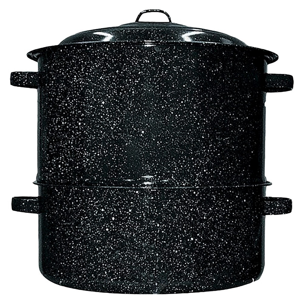 19qt 3pc Clam/Lobster Steamer Set Black