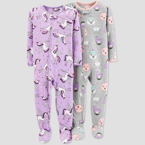 Toddler Girls' Fleece Unicorn Pajama Set - Just One You® made by carter's Purple - image 1 of 1