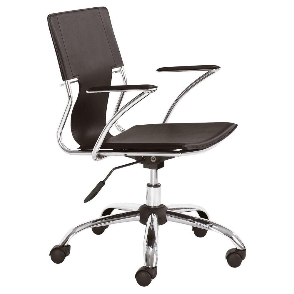 Modern Chromed Steel Adjustable Office Chair - Espresso - ZM Home, Brown