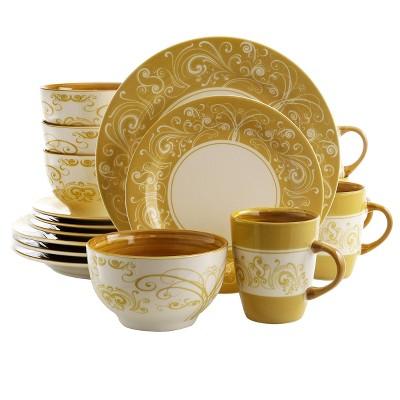 16pc Stoneware Delight Dinnerware Set Yellow - Elama