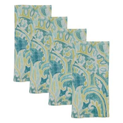 4pk Linen Distressed Table Napkins Green - Saro Lifestyle