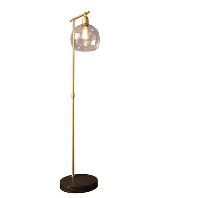 Metal and Wood Floor Lamp with Glass Globe Shade Gold - 3R Studios