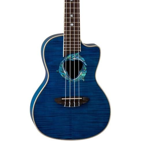 Luna Guitars Dolphin Concert Acoustic-Electric Ukulele Transparent Blue Flame Maple - image 1 of 2