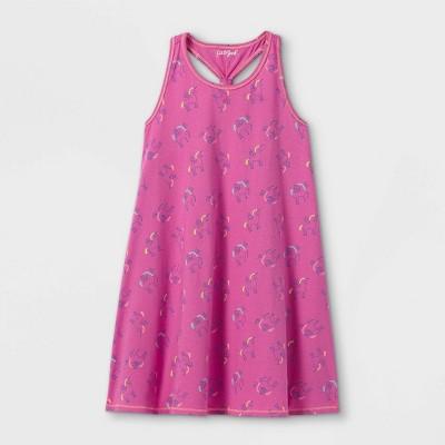 Girls' Printed Sleeveless Knit Dress - Cat & Jack™ Dark Pink