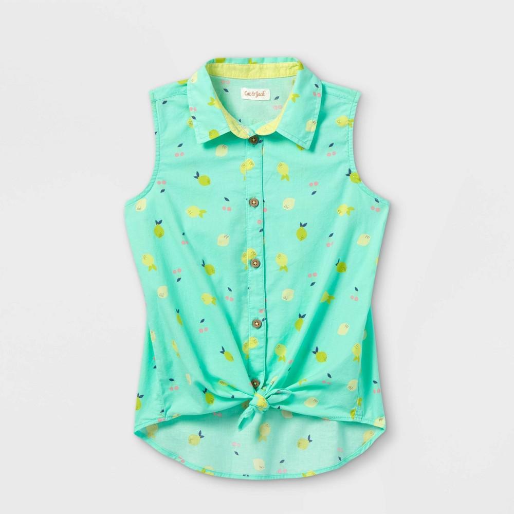Girls 39 Sleeveless Button Down Shirt Cat 38 Jack 8482 Mint S