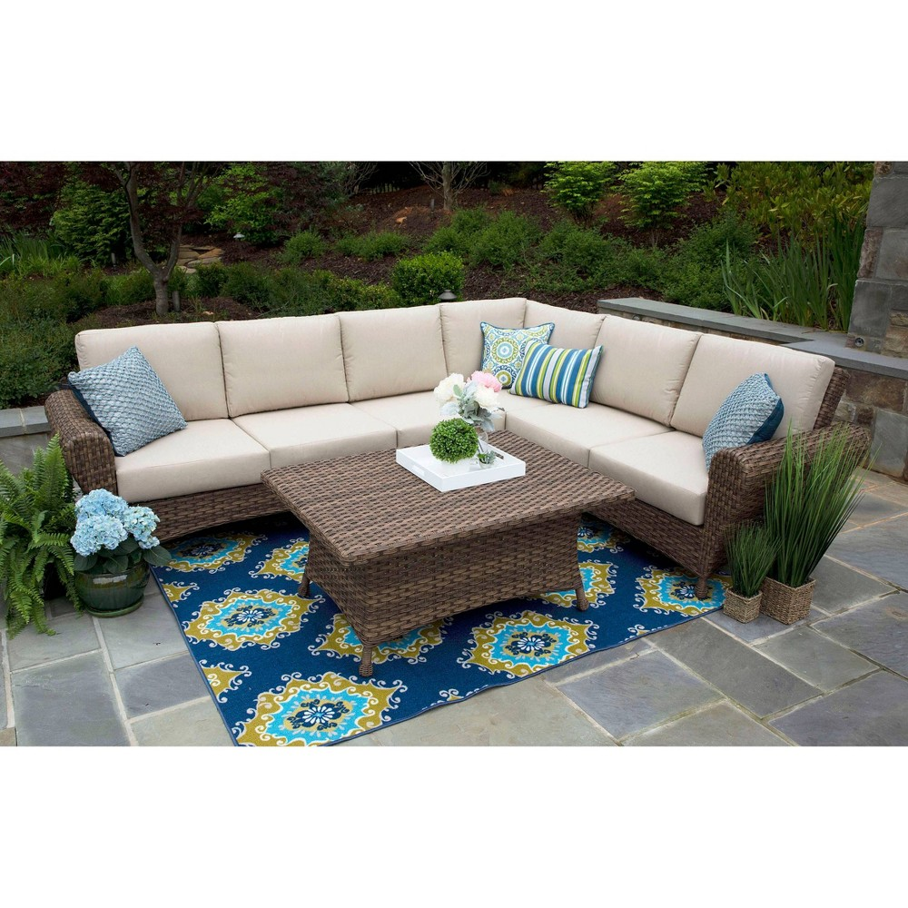 Image of Aspen 5pc Sunbrella Sectional Set Tan - Canopy Home and Garden