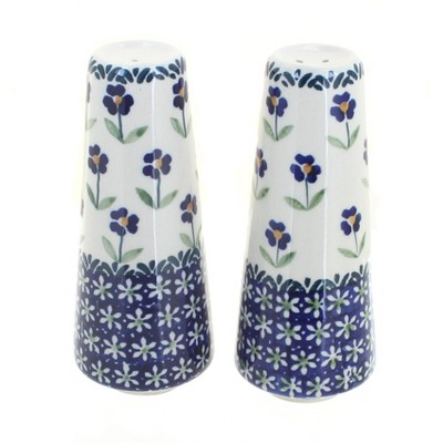Blue Rose Polish Pottery Blue Daisy Salt & Pepper Shakers