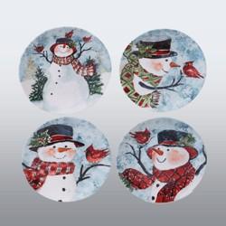 "9"" 4pk Earthenware Watercolor Snowman Dessert Plates - Certified International"