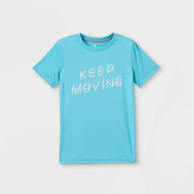 Boys' Short Sleeve 'Keep Moving' Graphic T-Shirt - All in Motion™ Aqua