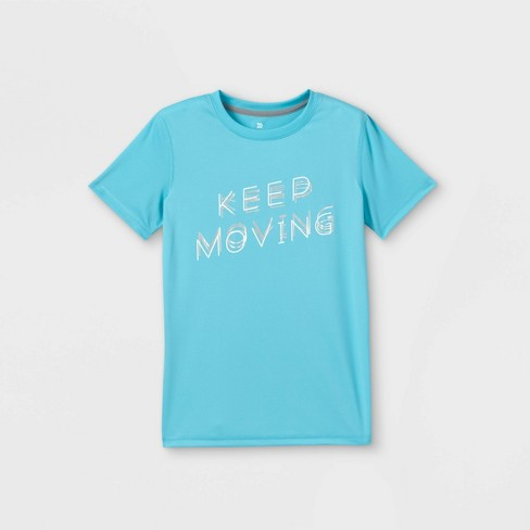 Boys' Short Sleeve 'Keep Moving' Graphic T-Shirt - All in Motion™ Aqua - image 1 of 2