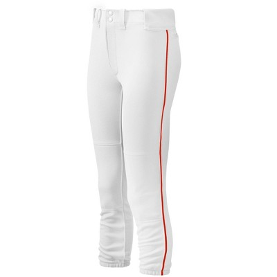 Mizuno Women's Belted Piped Softball Pant Womens Size Large In Color White-Red (0010)