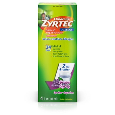 Children's Zyrtec 24 Hour Allergy Relief Syrup - Grape - Cetirizine - 4 fl oz