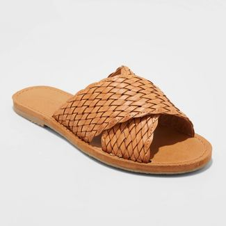 Women's Tabitha Woven Crossband Slide Sandals - Universal Thread™ Cognac 8.5