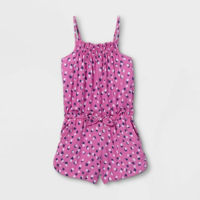 Girls' Printed Sleeveless Woven Romper - Cat & Jack™ Pink