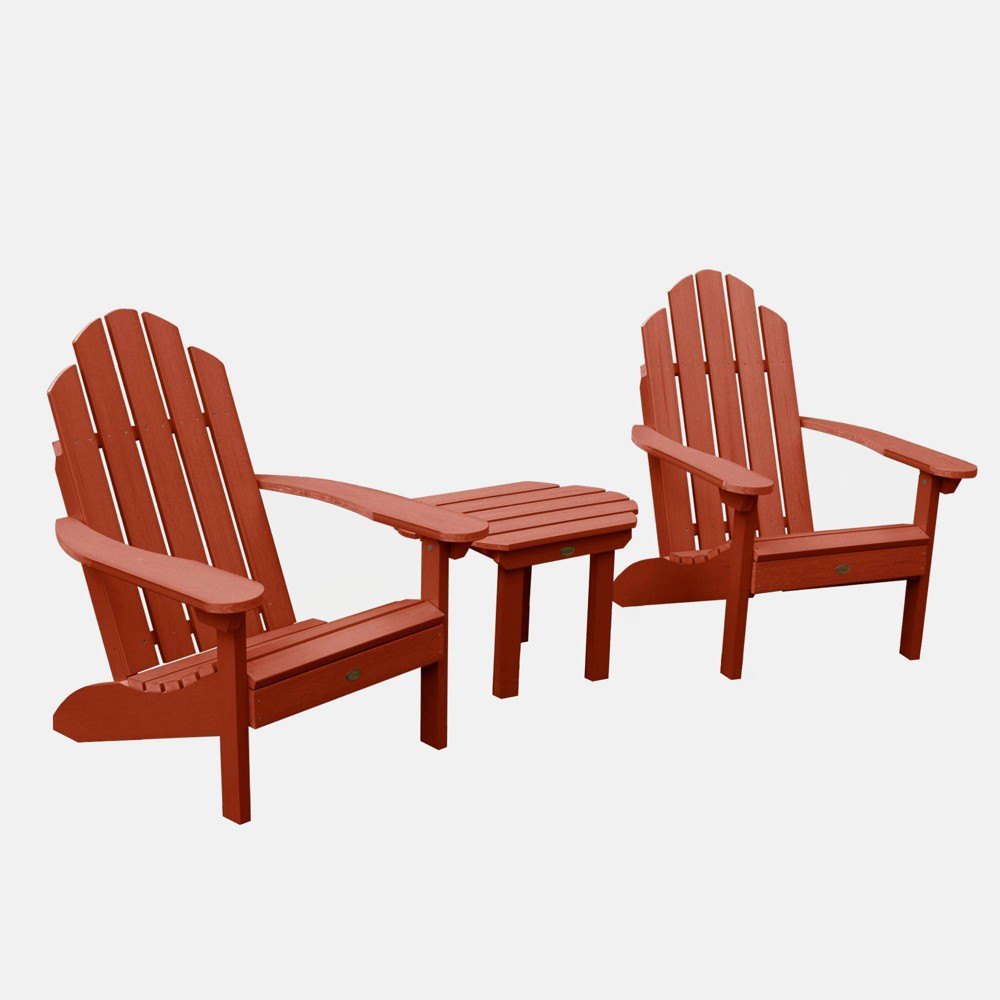 Image of 3pc Classic Westport Adirondack Chair Patio Set Rustic Red - highwood