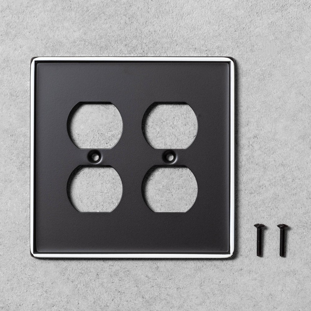 Image of 2pk Double Duplex Outlet Plate Black Metal - Hearth & Hand with Magnolia