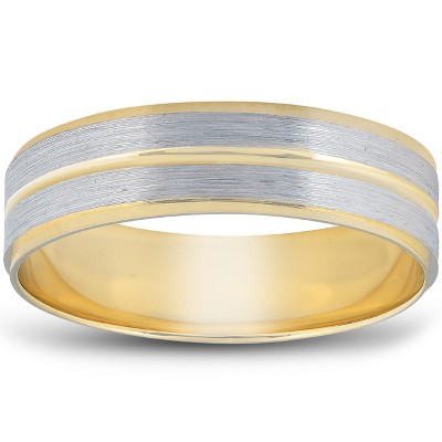 Pompeii3 14K Gold Two Tone Flat Wedding Band 6mm Brushed White & Yellow Mens RIng