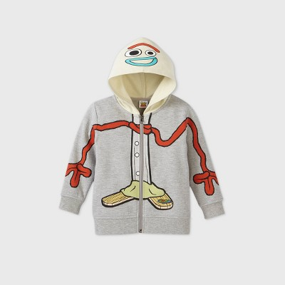 Toddler Boys' Toy Story 4 Forky Cosplay Zip-Up Hooded Sweatshirt - Heather Gray 4T