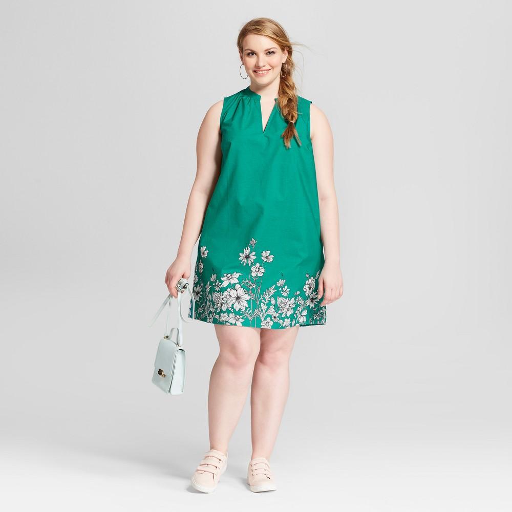 Women's Plus Size Floral Print Sleeveless Split Neck Sundress- Ava & Viv Green 3X