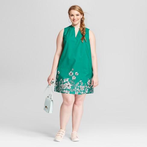 Womens Plus Size Floral Print Sleeveless Split Neck Sundress Ava