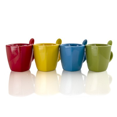 Gibson Home 8 Piece Primary Colors Stoneware Square Cup and Spoon Set in Assorted Colors