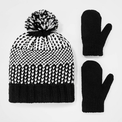 Toddler Boys' Rib Knit Cuff Beanie with Pom and Mittens Set - Cat & Jack™ Black/White 2T-5T