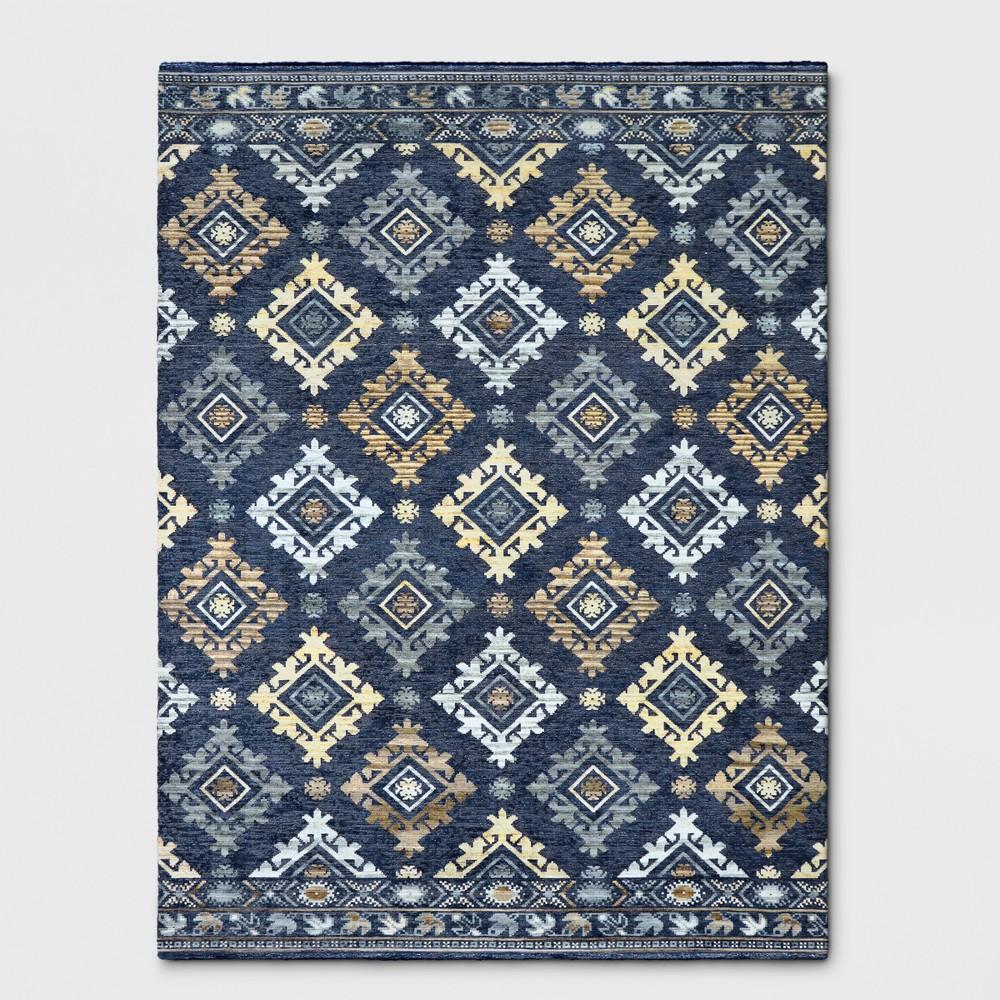 Indigo Jacquard Woven Area Rug 9'x12' - Threshold, Blue